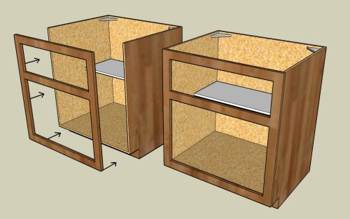 Cage design buildframed vs frameless cabinets which is for Build frameless kitchen cabinets