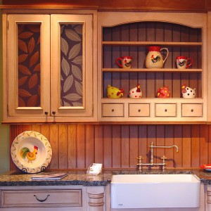 Kitchen cabinets with resin panls
