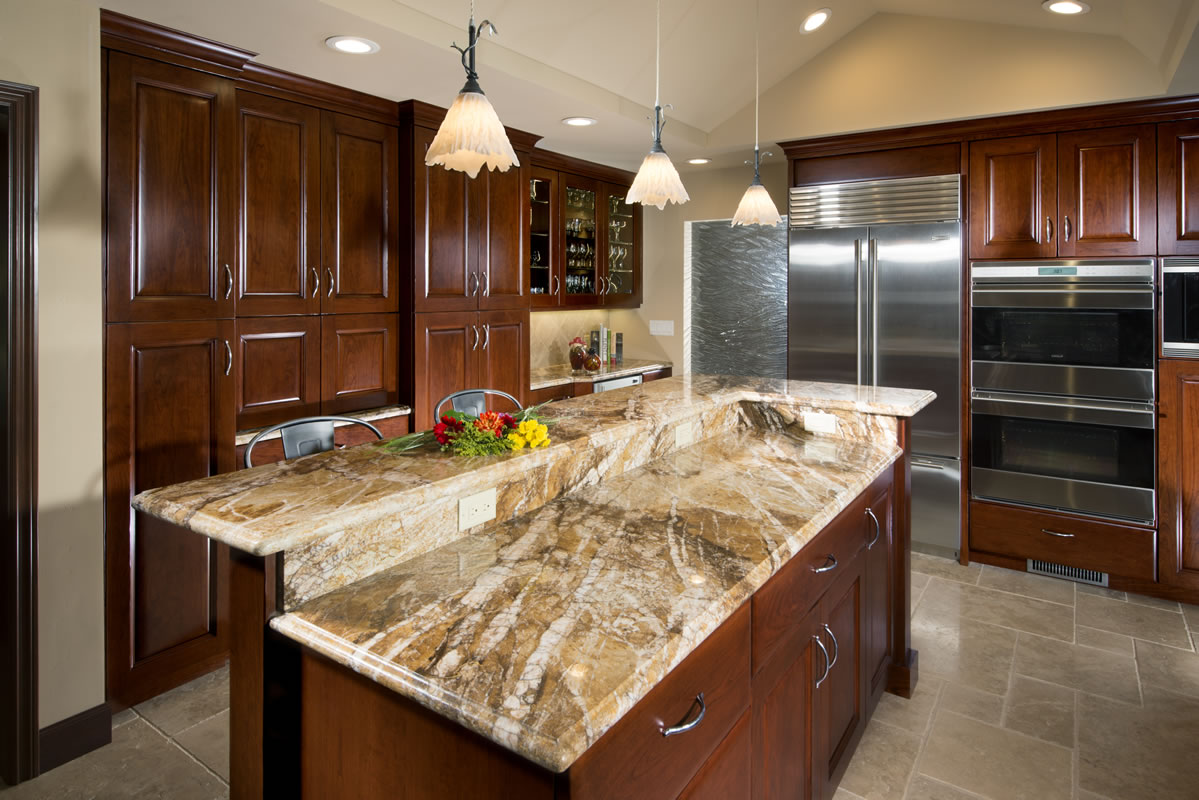 Kitchen Wood Cabinets With White Counterop