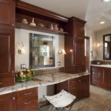 Remodel of the master bathroom included extensive rework of the space and inclusion of an extra large vanity area.