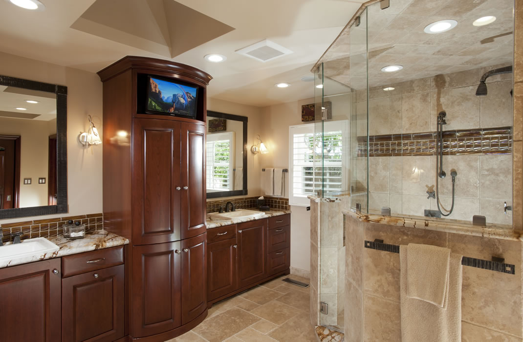 Saratoga home remodeling spotlight gallery cage design build Master bathroom tile floor