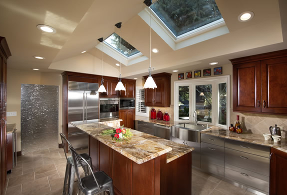 Saratoga kitchen remodel with recessed ceiling and two skylights to allow for more light and the sense of a higher ceiling.
